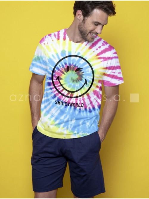 Pijama corto hombre Smiley world multicolor algodón