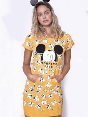 Camisola mujer Disney Mickey morning mostaza algodón