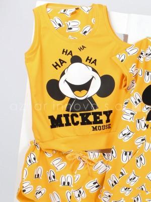 Pijama corto niña Disney Mickey Mouse mostaza