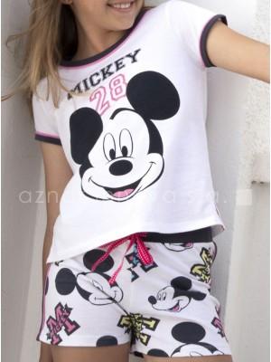 Pijama corto niña Disney Mickey blanco algodón