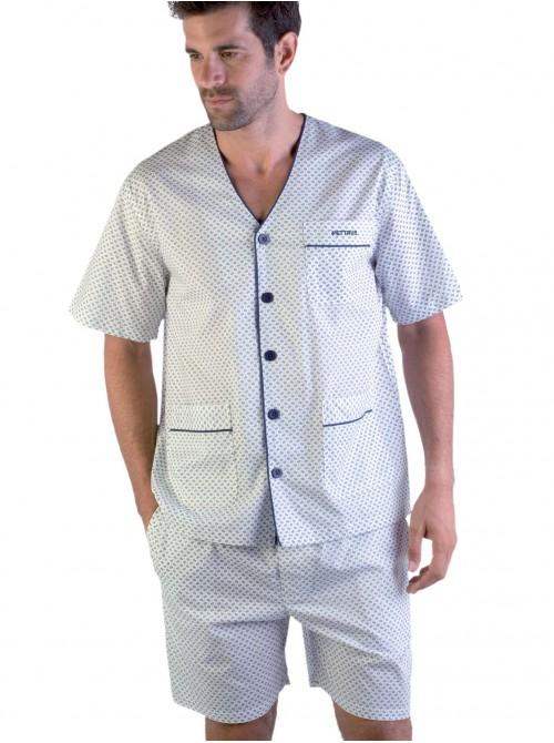 Pijama corto hombre Pettrus abierto algodón
