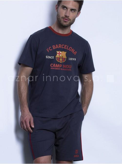 Pijama verano hombre FC Barcelona azul algodón