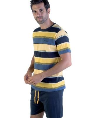 Pijama corto hombre Pettrus rayas azul amarillo algodón
