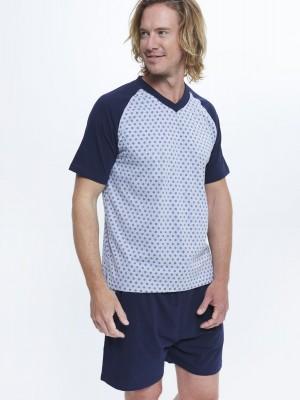 Pijama verano bolsillos hombre J&J Brothers Azul Gris Algodón