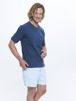 Pijama Verano Bolsillos Hombre J&J Brothers Combinado Azul Rayas Algodón