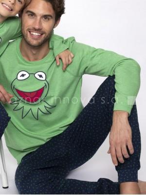 Pijama familiar largo invierno Disney Muppets Kermit puños algodón