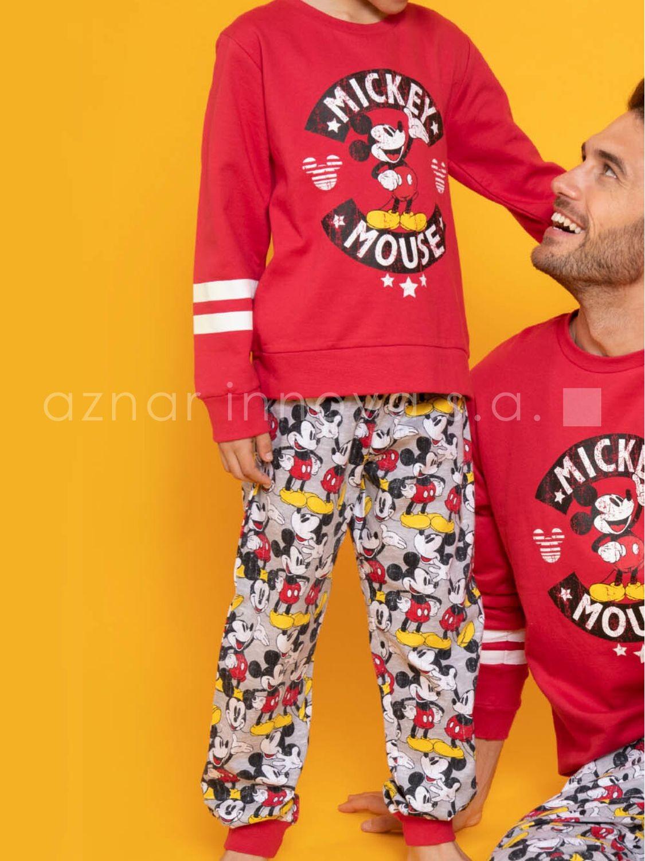 Pijama Familiar Invierno Nino Disney Mickey Punos Rojo Algodon