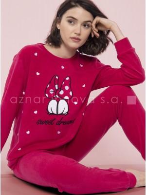 Pijama largo mujer Disney Love Mouse frambuesa micropolar
