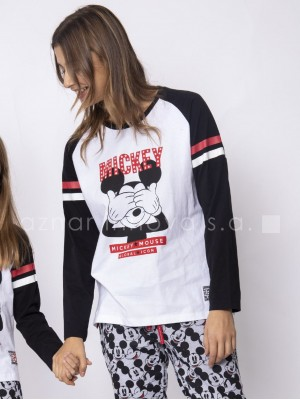 Pijama familiar largo mujer Disney Mickey puños algodón
