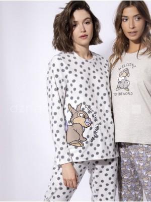 Pijama largo mujer Disney Tambor blanco micropolar