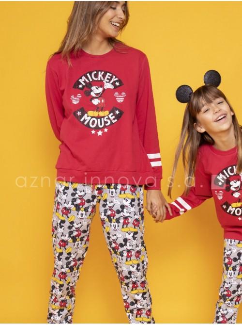 Pijama familiar invierno mujer Disney Mickey puños rojo algodón