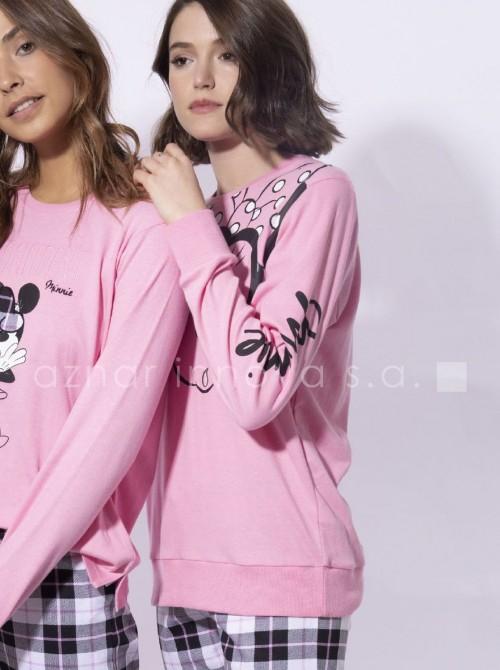 Pijama mujer largo Disney Minnie Check cuadros puños rosa