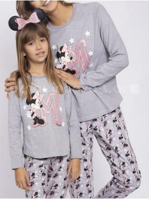 Pijama mujer largo Disney Minnie Sport puños gris algodón