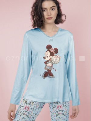 Pijama largo mujer Disney Minnie Japan azul viscosa