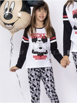 Pijama familiar largo niña Disney Mickey puños algodón