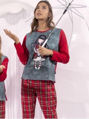 Pijama largo mujer Santoro Gorjuss Tears rojo algodón