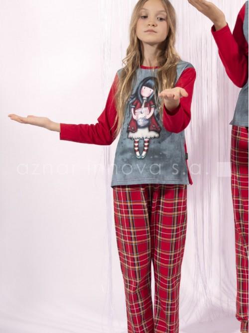 Pijama largo niña Santoro Gorjuss Tears rojo algodón