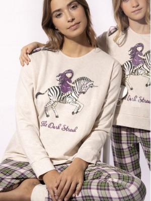 Pijama largo mujer Santoro Gorjuss The Dark Streak crudo algodón