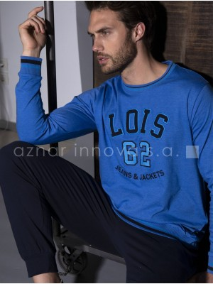 Pijama Lois Unders hombre invierno azul algodón