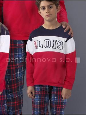 Pijama niño Lois colección familiar rojo sport algodón