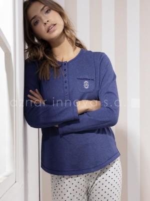 Pijama largo mujer Admas Stripes azul viscosa