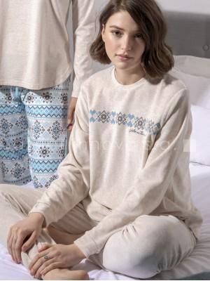 Pijama velour calentito mujer Mountains puños algodón