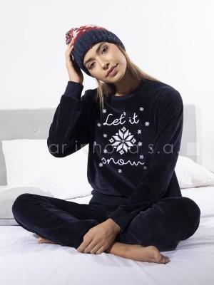 Pijama velour calentito mujer Winter marino puños algodón