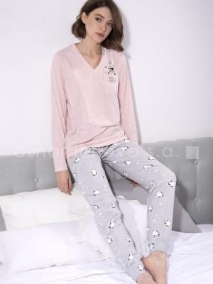 Pijama largo mujer Admas Pingüino rosa algodón interlock