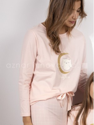 Pijama largo mujer Admas Stay at home Bonne nuit rosa algodón