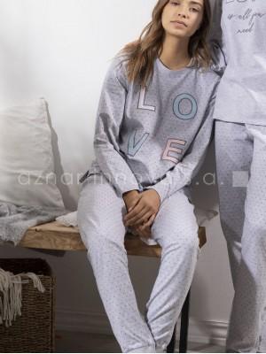 Pijama largo mujer Admas Stay at home gris algodón vigoré