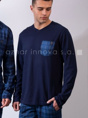 Pijama largo hombre Admas Edición Clásica azul algodón