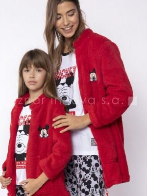 Bata corta térmica mujer Disney Mickey Mouse Colección familiar rojo corel
