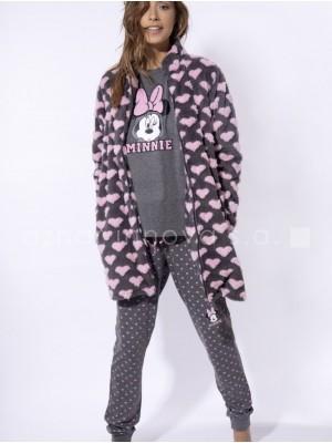 Bata semilarga térmica mujer Disney Minnie gris rosa corazones corel