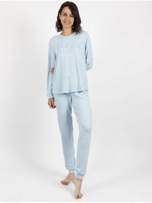 Pijama calentito mujer Admas Sleep gris puños