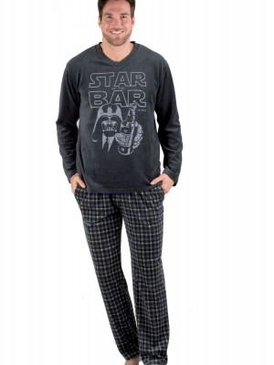 Pijama invierno hombre Pettrus cuadros terciopelo bolsillos