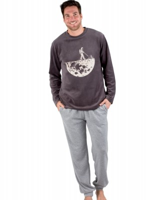 Pijama invierno hombre Pettrus terciopelo gris bolsillos