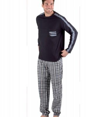 Pijama invierno hombre Pettrus bolsillos azul algodón