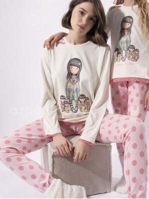 Pijama largo mujer Santoro Gorjuss Seven Sisters rosa algodón