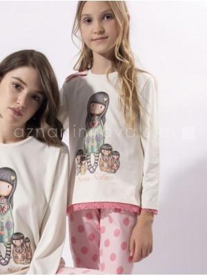 Pijama largo niña Santoro Gorjuss Seven Sisters rosa algodón