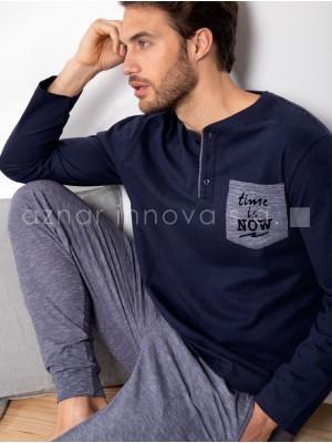 Pijama largo hombre Admas Stay at home azul algodón