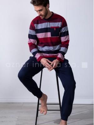 Pijama hombre Admas Edición clásica rayas algodón bolsillos