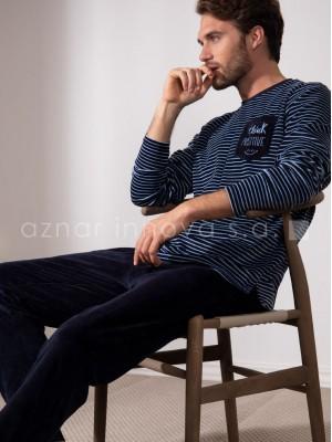 Pijama largo hombre Admas Positive azul velour bolsillos