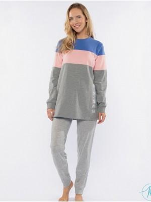 Pijama invierno mujer Muydemi punto gris rosa azul