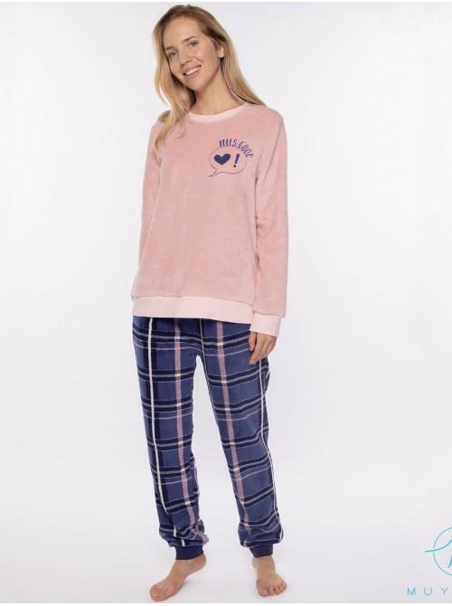 Pijama térmico puños mujer Muydemi cuadros coralina bolsillos