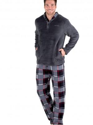 Pijama térmico hombre Pettrus cuadros coralina
