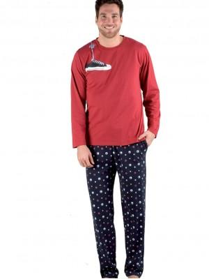 Pijama largo hombre Pettrus punto algodón bolsillos