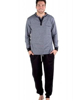 Pijama clásico hombre Pettrus punto algodón bolsillos