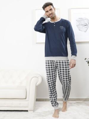 Pijama largo hombre BH puños algodón