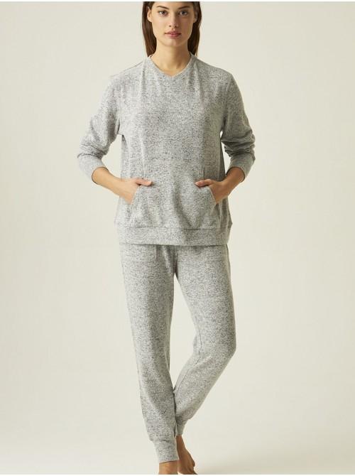 Pijama mujer largo J&J Brothers gris jaspe punto