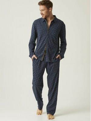 Pijama hombre abierto J&J Brothers azul punto algodón